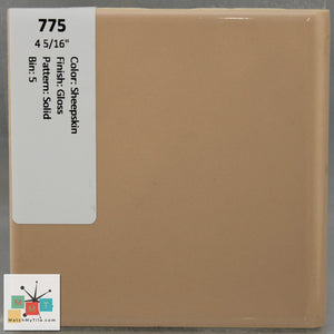 "MMT-775 Vintage 4 5/16"" Ceramic 1 pc Wall Tile Sheepskin Tan Glossy"