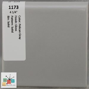 "MMT-1173B Vintage 4 1/4"" Ceramic 1 pc Wall Tile Pelican Gray Glossy Bullnose"