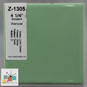 "MMT-135 Vintage 4 1/4"" Ceramic 1 pc Wall Tile Lime Green Glossy"