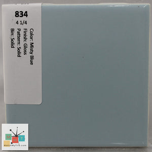 "MMT-834 Vintage 4 1/4"" Ceramic 1 pc Wall Tile Misty Blue Glossy"