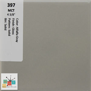 "MMT-397 Vintage 4 3/8"" Ceramic 1 pc Wall Tile MCT Alfalfa Gray Glossy"
