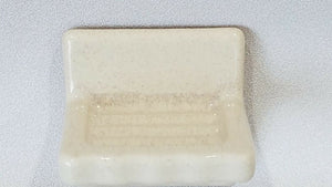 BA-1077 Fancy NOS Vintage Ceramic Bathroom Soap Dish Cream Speckle 4 3/4""