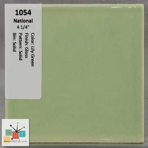 "MMT-1054 Vintage 4 1/4"" Ceramic 1 pc Wall Tile National Lily Green Glossy"
