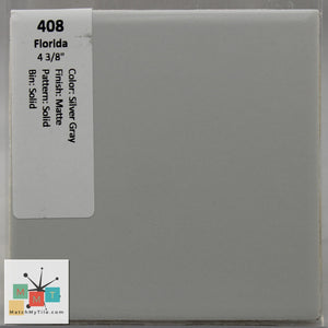 "MMT-408 Vintage 4 3/8"" Ceramic 1 pc Wall Tile FT Silver Gray Matte"