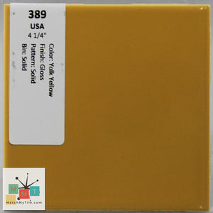 "MMT-389 Vintage 4 1/4"" Ceramic 1 pc Wall Tile USA Yolk Yellow Glossy"