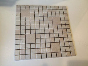 "Tb-2) Vintage 12 1/2"" Sq Section White Gray Pink Textured Ceramic Wall Tile"