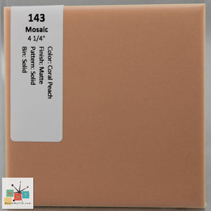 "MMT-143 Vintage 4 3/8"" Ceramic 1 pc Wall Tile Mosaic Coral Peach Matte"
