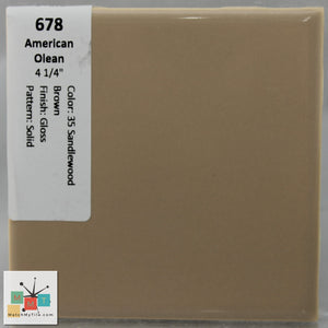 "MMT-678 Vintage 4 1/4"" Ceramic 1 pc Wall Tile AO 35 Sandalwood Brown Tan Glossy"