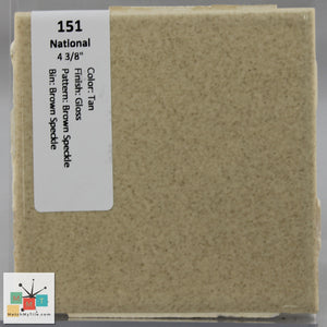 "MMT-151 Vintage 4 3/8"" Ceramic 1 pc Wall Tile National Tan Brown Speckled Gloss"