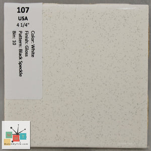 "MMT-107 Vintage 4 1/4"" Ceramic 1 pc Wall Tile USA White Black Speckled Glossy"