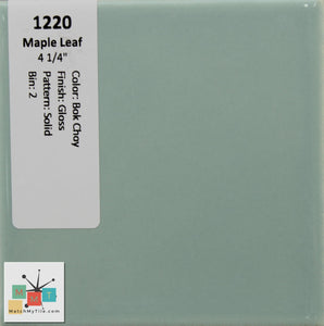 "MMT-1220 Vintage 4 1/4"" Ceramic 1 pc Wall Tile Maple Bok Choy Green Glossy"