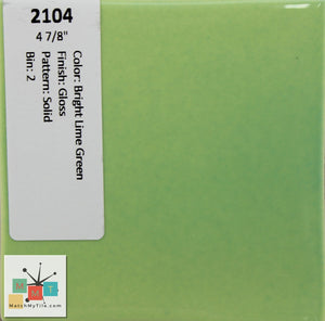 "MMT-2104 Vintage 4 7/8"" Ceramic 1 pc Wall Tile BR Lime Green Glossy"