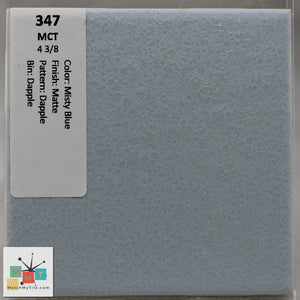 "MMT-347B Vintage 4 3/8"" Ceramic 1 pc Tile MCT Misty Blue Dapple Matte Bullnose"