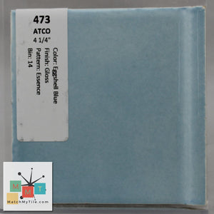 "MMT-473 Vintage 4 1/4"" Ceramic 1 pc Wall Tile Atco Eggshell Blue Essence Glossy"