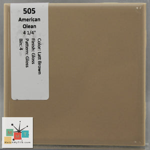 "MMT-505 Vintage 4 1/4"" Ceramic 1 pc Wall Tile AO Latte Brown Gloss Glossy"