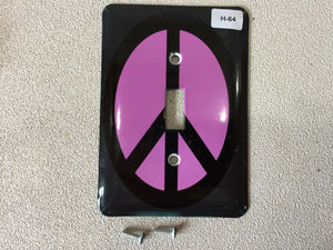 H-64 Peace Sign Single Wall Plate Light Switch Plate Cover Purple & Black
