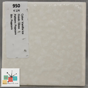 "MMT-950B Vintage 4 1/4"" Ceramic 1 pc Wall Tile Vanilla Ice Dapple Glossy Bullnose"