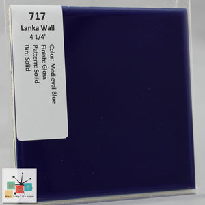 "MMT-717 Vintage 4 1/4"" Ceramic 1 pc Wall Tile Lanka Medieval Blue Glossy"