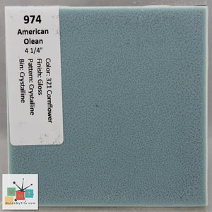 "MMT-974 Vintage 4 1/4"" Ceramic 1 pc Wall Tile AO #321 Blue Crystalline Glossy"