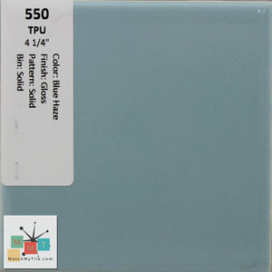 "MMT-550V Vintage 4 1/4"" Ceramic 1 pc Wall Tile TPU Blue Haze Blue Glossy Cove"