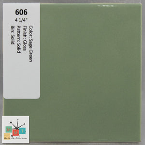 "MMT-606 Vintage 4 1/4"" Ceramic 1 pc Wall Tile Sage Green Glossy"
