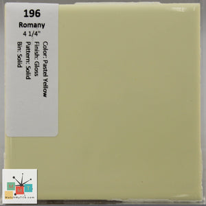 "MMT-196 Vintage 4 1/4"" Ceramic 1 pc Wall Tile Romany Pastel Yellow Glossy"