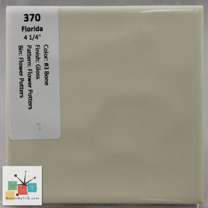 "MMT-370 Vintage 4 3/8"" Ceramic 1 pc Wall Tile FT #3 Bone Potters Glossy"