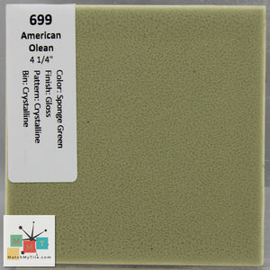 "MMT-699 Vintage 4 1/4"" Ceramic 1 pc Wall Tile AO Sponge Green Crystalline Glossy"