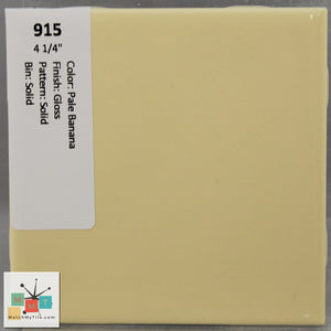 "MMT-915 Vintage 4 1/4"" Ceramic 1 pc Wall Tile Pale Banana Yellow Glossy"