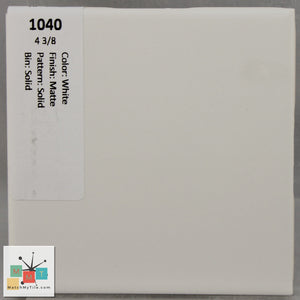"MMT-1040 Vintage 4 3/8"" Ceramic 1 pc Wall Tile White Matte"