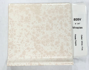 MMT-805V Vintage 4 1/4 Ceramic 1 pc Miroplas Tile White Pink Texture Dapple Cove