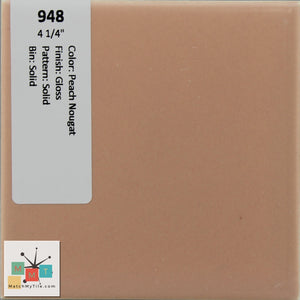 "MMT-948 Vintage 4 1/4"" Ceramic 1 pc Wall Tile Peach Nougat Pink Glossy"