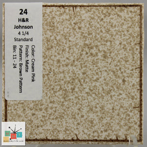 "MMT-24 Vintage 4 1/4"" Ceramic 1 pc Wall Tile H&R Cream Brown Pattern Matte"
