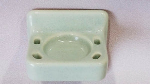BA-1036 NOS Vintage Ceramic Bathroom Wall Toothbrush & Cup Holder Green Speckle