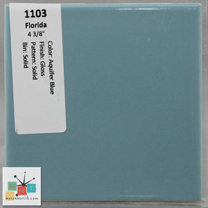 "MMT-1103C Vintage 2x6"" Ceramic 1 pc Wall Tile FT Aquifer Blue Glossy Mudcap"