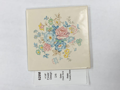 MMT-629M Vintage 4 1/4 Ceramic 1 pc Wall Tile Cream Tuscany Floral Flowers