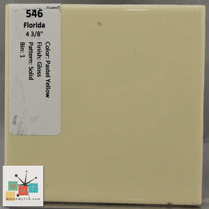 "MMT-546 Vintage 4 3/8"" Ceramic 1 pc Wall Tile FT Pastel Yellow Glossy"