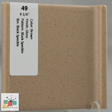 "Load image into Gallery viewer, MMT-49C Vintage 4 1/4"" Ceramic 1 pc Tile Brown Black Speckled Glossy Mudcap"