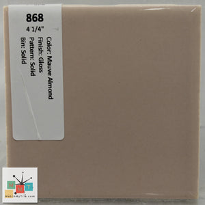 "MMT-868A Vintage 4 1/4"" Ceramic 1 pc Wall Tile Mauve Pink Glossy Angled Edge"