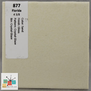 "MMT-877 Vintage 4 3/8"" Ceramic 1 pc Wall Tile FT Sand Crystal Glaze Glossy"