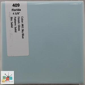 "MMT-409 Vintage 4 3/8"" Ceramic 1 pc Wall Tile FT #61 Sky Blue Glossy"