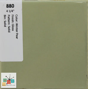 "MMT-880 Vintage 4 1/4"" Ceramic 1 pc Wall Tile Winter Pear Green Glossy"