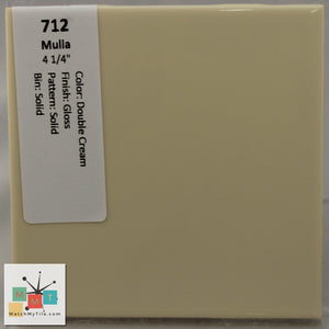 "MMT-712 Vintage 4 1/4"" Ceramic 1 pc Wall Tile Mulia Double Cream Yellow Glossy"