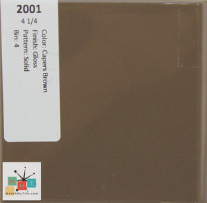 "MMT-2001 Vintage 4 1/4"" Ceramic 1 pc Wall Tile Capers Brown Glossy"