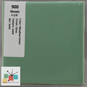 "MMT-900 Vintage 4 3/8"" Ceramic 1 pc Wall Tile Mosaic Meadow Green Glossy"