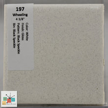 "Load image into Gallery viewer, MMT-197CB Vintage 4 3/8"" Ceramic 1pc Tile Wheeling White Blk Speck Gloss Corner"