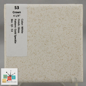 "MMT-53 Vintage 4 1/4"" Ceramic 1 pc Wall Tile Crown White Gold Speckled Glossy"