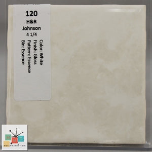"MMT-120 Vintage 4 1/4"" Ceramic 1 pc Wall Tile H&R White Essence Glossy"
