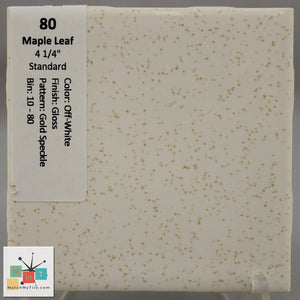 "MMT-80 Vintage 4 1/4"" Ceramic 1 pc Wall Tile Maple Off-White Gold Speckled Glossy"