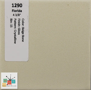 "MMT-129 Vintage 4 3/8"" Ceramic 1 pc Wall Tile FT Beige Bone Crystalline Glossy"
